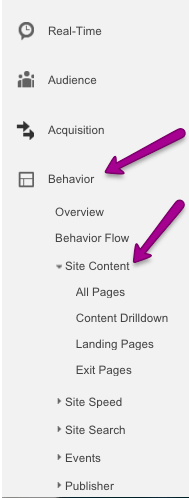 Behavior and Site Content GA