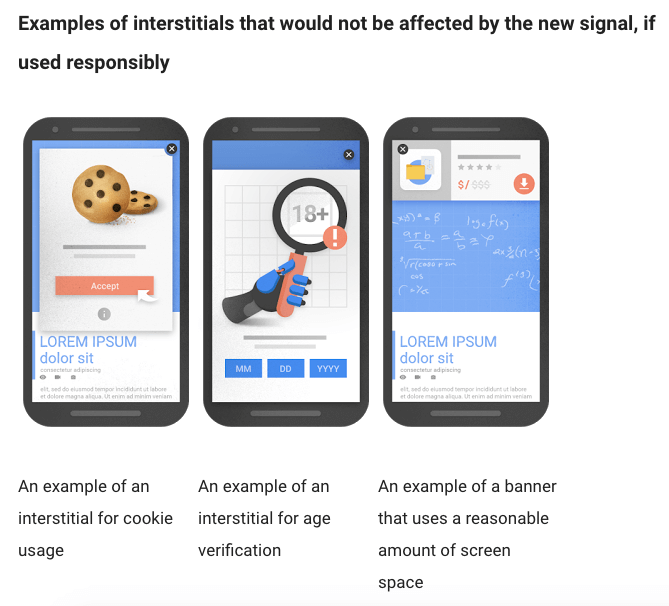 Good examples google interstitial